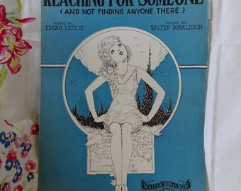 """1929 Sheet Music """"Reaching for Someone"""", Art Deco Woman Graphics, Music & Lyrics, Frameable Artwork, Great Music Collectible"""