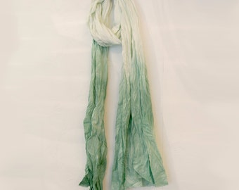 White Green Hand Painted Cottons Scarf