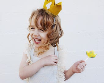 Where the Wild Things Are Birthday Crown | 4th Birthday Crown of Felt | Wild Things Birthday | Mustard Gold White