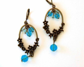 Flowery brass and turquoise crystal earrings