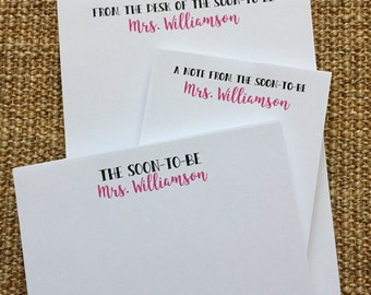 Engaged Notepad Set - The Soon to Be Mrs - Wedding - Bride - Shower Gift - Miss to Mrs - Personalized - 3.67x8.5 - 5.5x5.5 - 5.5x8.5