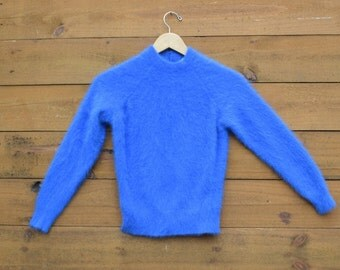 Vintage 1960s Soft Angora Sweater Royal Blue - Size Small By Parkhurst Made in Canada