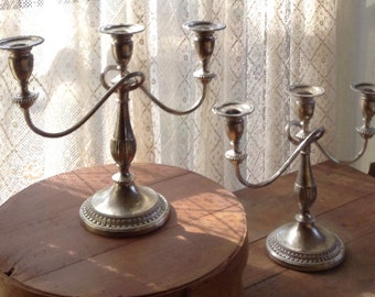 Silver Candelabra Pair Vintage Candelabra Shabby Chic Candelabra Silver Candle Holder Candelabra Pair Candle Holder Pair Shabby Chic Wedding