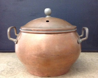 Simmering Potpourri Pot Copper Potpourri Pot Covered Copper Bowl Vintage Copper Pot Small Covered Bowl Farmhouse Decor Primitive Decor