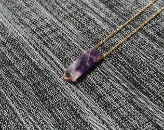 Amethyst Necklace/ Raw Amethyst/ Amethyst Crystal/ Amethyst Pendant/ Amethyst Points/ Gold Amethyst/ February Birthstone