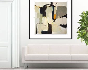 Abstract painting print minimalist, large abstract print, gray white black abstract art, large grey abstract art print, giclee print, Lacuna