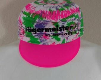 Vintage Jagermeister 80's 90's Promo Painters Hat Plastic Neon Pink Splatter Stretch