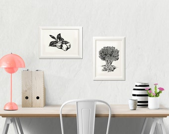 Olive Tree Print, Jewish Art, Black And White Art Print, Set of 2, Olives Sketch, Natural Wall Decor, Botanical Art, Jewish Gift