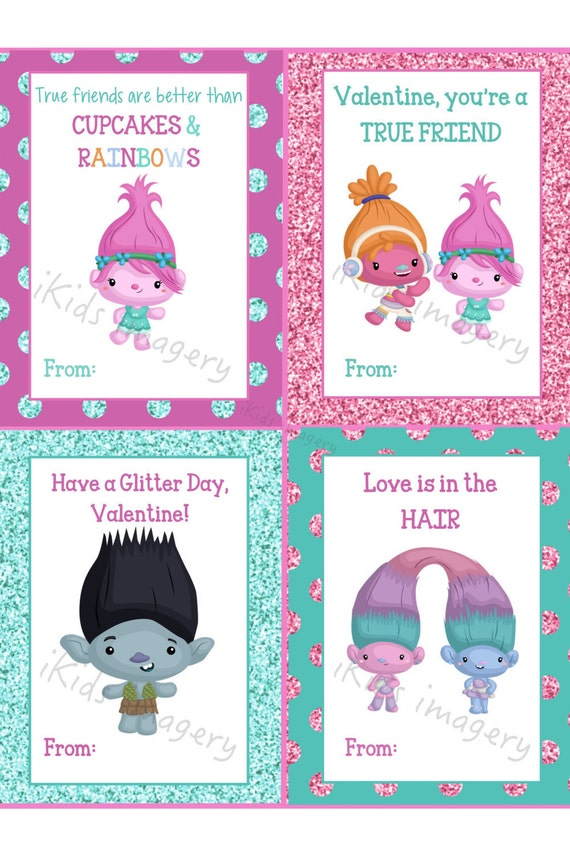 Trolls Printable Valentines Day Cards