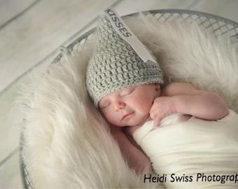 Newborn Kisses hat, newborn photo prop, Newborn Kiss hat, Valentine's Day photo prop, sweetheart hat, hershey kisses hat, newborn Halloween