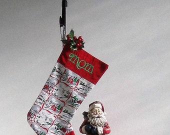 Personalized Christmas Stocking * Christmas Stocking * Embroidered Stocking *  Vintage Stocking * Christmas * Monogrammed Stocking