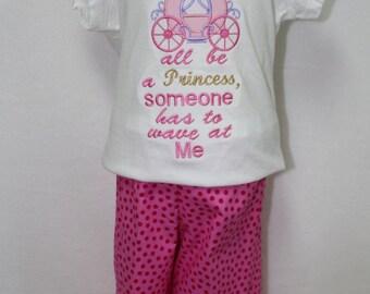 Girls Princess shirt, Toddler girl Princess shirt, Princess Carriage shirt, Girls Cindrella Princess outfit, Hot Pink Polka Dot Ruffle Pants