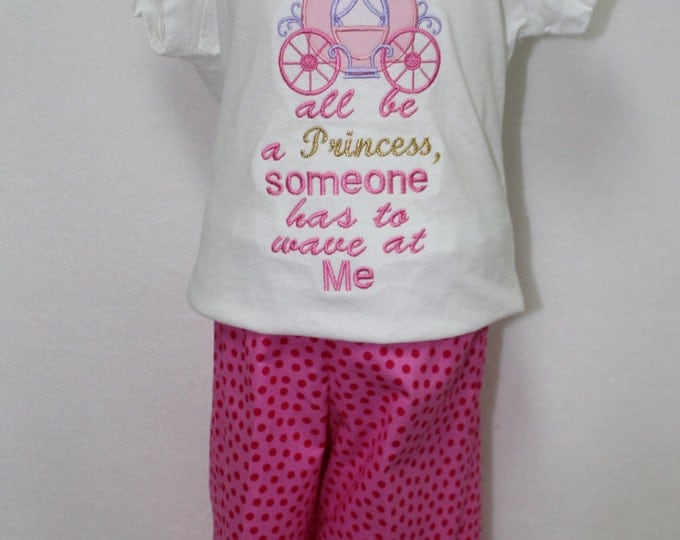 Girls Princess shirt, Toddler girl Princess shirt, Princess Carriage shirt, Girls Cindrella Princess outfit, Hot Pink Polka Dot Ruffle Pants