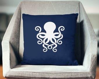 Octopus Pillow | Octopus Pillow Cover | Octopus Throw Pillow | Octopus Decor | Octopus Gifts | Navy Nautical Pillow | Octopus Cushion