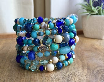 Memory Wire Bracelet Stacking bracelet Blue Bracelet Layered Bracelet Beaded Bracelet Statement bracelet Wrap bracelet Gemstone Necklace