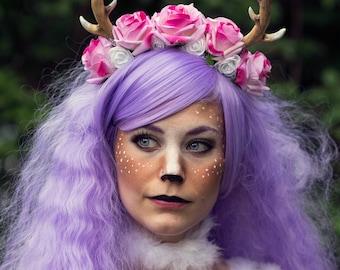 horns/ deer/  headgear/ headband fawn/ flowers/ copricapo cerbiatto/ corona di fiori / fantasy/ accessori