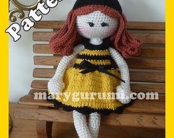 "Crochet Pattern, pattern, tutorial, Amigurumi doll, Bénédicte ""Bee"""