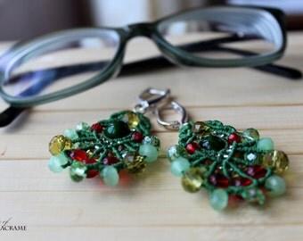 Bright green beaded micro macrame earrings| St Patricks day handmade jewelry| Gifts for women| Sterling Silver ear wires| Dangle earrings
