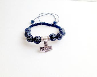 Thor Hammer bracelet shamballa Gift Mens Bracelet black bracelet Agate bracelet Celtic bracelet macrame bracelet shambhala Beaded Bracelets