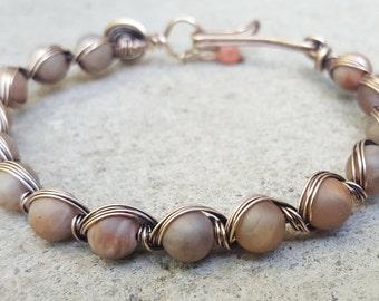 Moonstone Bracelet, Moonstone Gemstone Wire Wrapped Bracelet, Bronze Bracelet, Unpolished Natural Moonstone beads, Bronze Wire wrapped