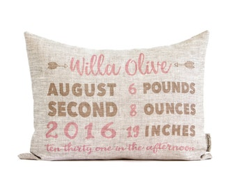 Personalized Rustic Baby Gift, Birth Announcement Pillow, New Parents, New Baby, Rustic Linen, First Birthday Gift