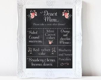 Chalkboard Dessert menu sign, Dessert table cake menu, Floral wedding sign, wedding dessert