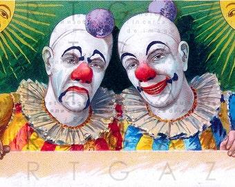 Victorian Circus Twin Clowns. STUNNING CIRCUS Illustration. Digital Circus Download. Vintage Clown Print.