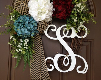 Red White and Blue Hydrangea Wreath - Patriotic Wreath - American Wreath - Memorial Day Wreath - 4th of July Wreath with Monogram - July 4th