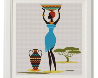 African Art-African Cross Stitch Pattern-African Art Decor-Printable Africa-Printable Embroidery-Digital Print