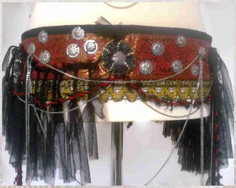 """36"""" (92 cm) Tribal Fusion Costume Belt, Fringes Belt, Red Fusion Belt,  Burlesque Belt, Goth Belt, Dark Fusion Belt, Tribal Belly Dance Belt"""