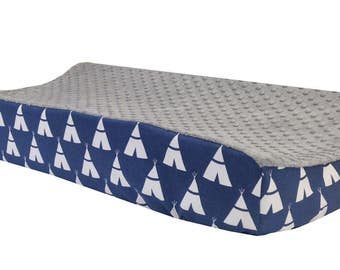 Navy Tee Pee - Gray Minky Changing Table Cover