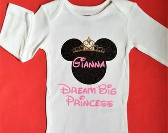 Disney Shirts || Dream Big Princess Minnie | Disney family shirts baby girl Disney trip shirt toddler girl Disney girls 1st Disney Trip 1st