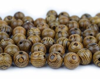 Natural Tiger Grain Wood Beads, 8mm Round, Mala Prayer Wooden Beads