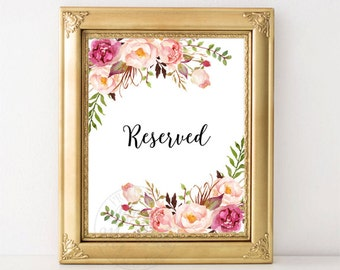 Wedding Reserved Sign, Reserved Table Sign, Reserved Signs, Floral Reserved Sign, Reserved Seating Sign, Printable Reserved Sign, Reserved