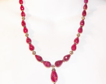 Gorgeous 240 Carat Tear Drop Natural Ruby Sterling Silver Necklace