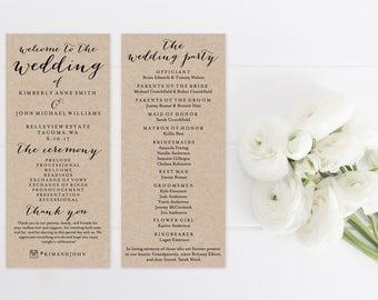 Wedding Program Template Print, Rustic Kraft Custom Printable Wedding Program, Printable Digital Ceremony Program, 4x9