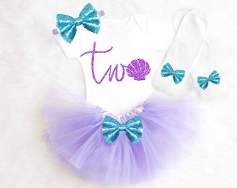 Mermaid 2nd Birthday Outfit Mermaid Second Birthday Outfit Mermaid 2nd Birthday shirt Mermaid Second Birthday Outfit Under the Sea ANY AGE