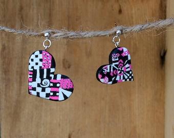 Heart Earrings, Sterling silver, Wood hearts, Wood Earrings, Wooden Hearts, Pink, Black, Wooden Earrings, Unique Hearts, Geometric earrings