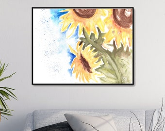 Sunflower Painting Sunflower Art Sunflower Print Sunflower Poster Watercolor Flower Painting Watercolor Sunflowers Printable Painting