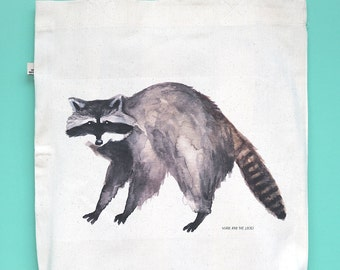 Raccoon Tote Bag, made of a 100% recycled and organic materials