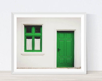Door Print, Door Wall Art, Green Door Art, Green Door, Window Print, Window Photography, Window Wall Art, Architecture, Home Decor,  A7