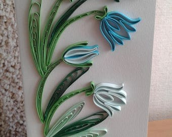 Quilling greeting card Floral greeting card Birthday card Quilled flowers Bells Quilling patterns