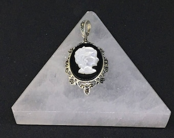 Vintage Sterling Silver .925 Lady Cameo Necklace With Genuine Marcasite and Real Onyx