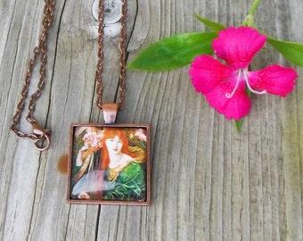 Dante Gabriel Rossetti Painting Pendant Necklace, Pre raphaelite Painting Glass Dome Pendant Necklace