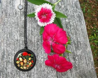 Bouquet of Flowers Necklace, Ambrosius Bosschaert Glass Dome Pendant Necklace