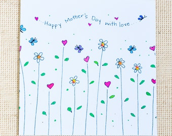 Mother's Day Card, Cute Mother's Day Card, Happy Mother's Day with love, Mother,  Floral Mother's day Card, Happy Mother's Day card