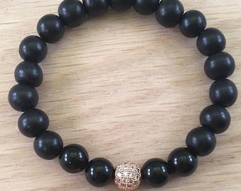 Black Onyx & Rose Gold Bracelet, black bead bracelet, gemstone bracelet, rose gold with cubic zirconia crystals