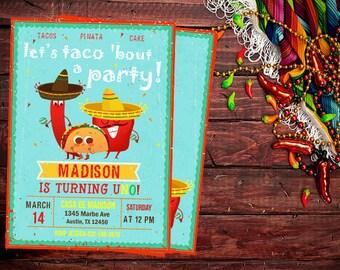 Taco Birthday Invitation, Taco Invitations, Fiesta Invitations, Fiesta Invitation, Fiesta Birthday, Taco Birthday Party, Taco Party, Taco