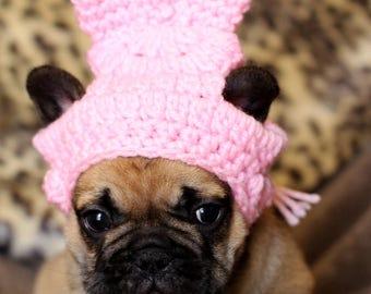 French Bulldog Clothe Puppy Easter Bunny Rabbit Hat Beanie pom pom hat dog clothes toque gorro de ganchillo para mascota - photo shoot prop