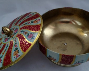 Vintage Floral Tin Container with Lid - Decorative Tin Container Made in England - Vintage English Tin Container-Painted Tin Container